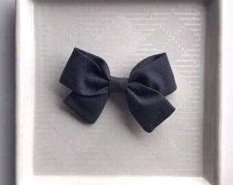 Charcoal Classic Bow - Baby Girl Nylon Headband and Bows - Girls Fabric Bow - Newborn Bow - Simple Bow - Gray Bow - Gray Headband - Fall Bow