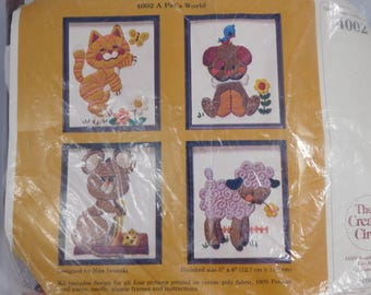 Four Animal Crewel Kit, A Pet's World, The Creative Circle 4002, 1970s Embroidery Needlepoint, Mouse, Lamb, Dog, Cat