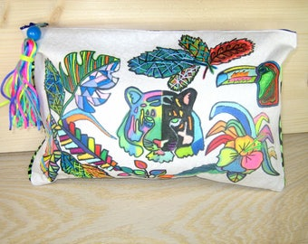 """Large pouch """"jungle"""" embroidery and felt"""