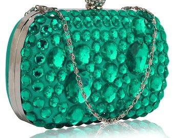 Sparkly Emerald Gem Clutch Bag