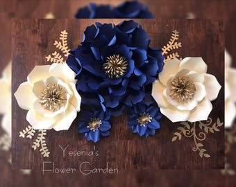 Navy Blue & Cream paper flower set