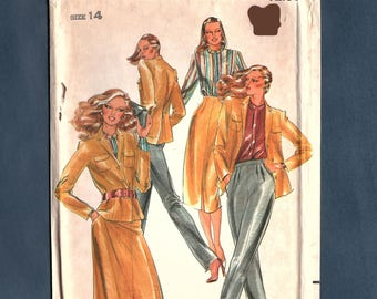 Butterick 6923 Misses Unlined Jacket, Tapered pants, Straight Skirt, Vintage 70s, Sewing Pattern,  Size 14 Uncut Pattern