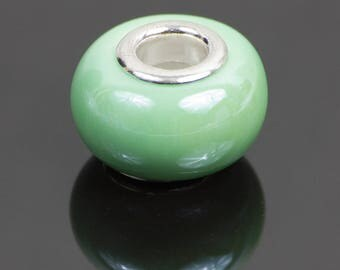 2 beads European style ceramic light green
