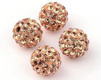 "Shamballa beads 10mm grade A ""sand"" 10mm"