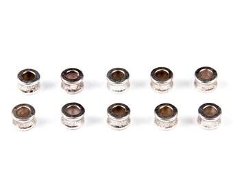 25 beads diabolo silver 8mm Tibetan