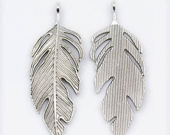 62mm silver feather pendant