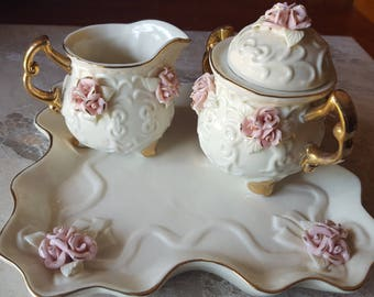 Vintage Rose cream and sugar set