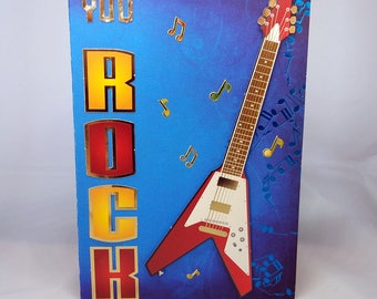 Male Birthday Card - Guitar/Rock - luxury personalised unique quality special bespoke UK - Dad/Son/Uncle/Brother/Nephew