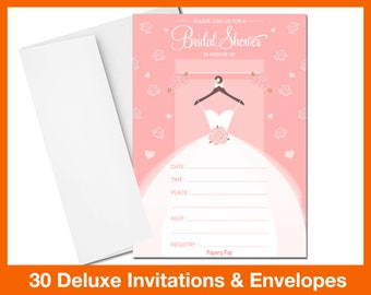 30 Bridal Shower Invitation (with Envelopes) - Wedding Shower Invitations - FAST SHIPPING