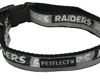 Oakland Raiders Reflective Dog Collar