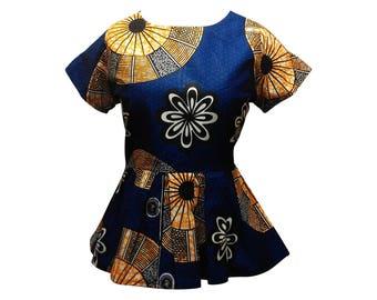 African clothing, african print top, ankara top, african print, wax print, african clothing, peplum top ( NAOMI peplum top)