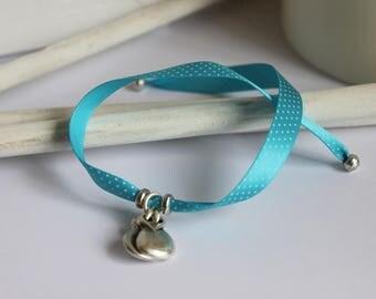 Blue polka dot flamenco Bracelet (can change Ribbon)