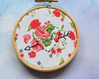 """Embellished heart embroidery hoop art in 3"""" hoop. Home decor; embroidered art; Valentine's romantic gift"""