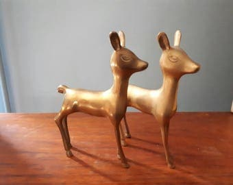 Vintage Mid Century Brass Bambi Deer and Mouse