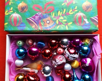 Vintage Pink Red and Blue Christmas Baubles