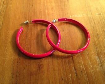 Vintage Red Hoop Earrings