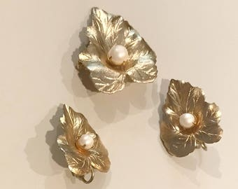 Vintage Sarah Coventry Brooch and Clip On Earrings, Faux Pearl, Gold Tone, Set