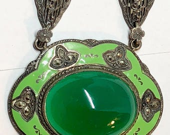 Vintage Green Czech Enamel and Rhodium Plated Filigree Necklace