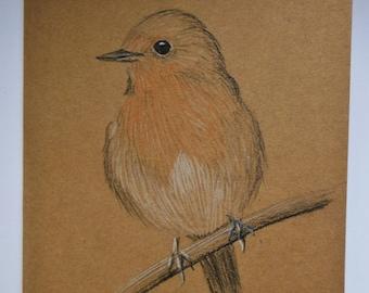 Robin Christmas Gift Card, Handmade rustic bird card, Robin red breast xmas gift, bird watcher seasonal card, blank nature christmas card