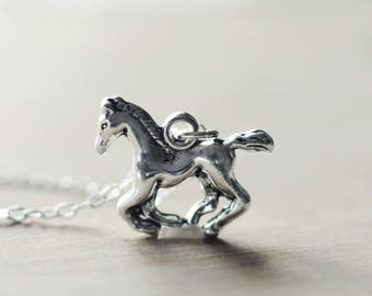 Running horse sterling silver necklace | Country western pendant | Wild west charm necklace | Cowgirl pendant | Gift for horse lovers