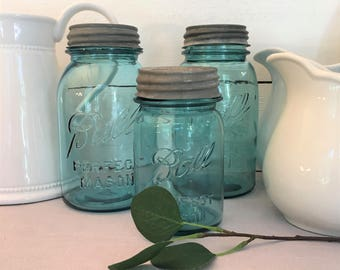 Three Aqua Blue Ball Jars