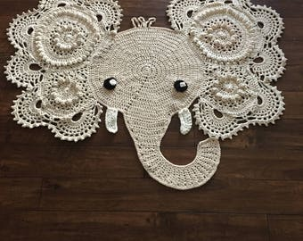 Large crochet elephant playroom rug, doily elephant rug, nursery rug, nursery decor, bedroom rug, doily rug, josephina elephant rug