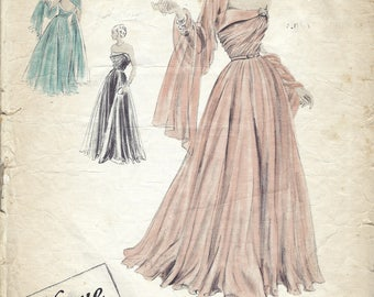 "1948 Vintage VOGUE Sewing Pattern B34"" Evening Dress & Scarf  (1851) By Vogue Couturier 391"