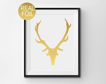 "Real Gold Foil Print, ""Antlers"", Gold Wall Art, Scottish Gift, Home Decor, Gold Office Decor, Gold Bedroom Decor"