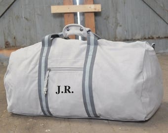 Personalised Weekend Bag - Gifts for Him  -  Bags for Men - Monogrammed Bag - Holdall Bag - Travel Bag Gift Idea - Gifts for Him - Grey