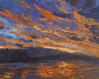Orange Dusk Sunset Oil painting