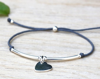 Reed and heart 925 sterling silver cord bracelet