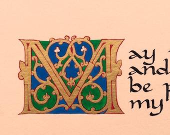 Custom Illuminated Letter-parchment