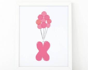 Initial x, X letter Balloons, Letter Nursery, baby pink Balloons, initial Printable, Nursery Initial Print, pink Initial Balloons, Up disney