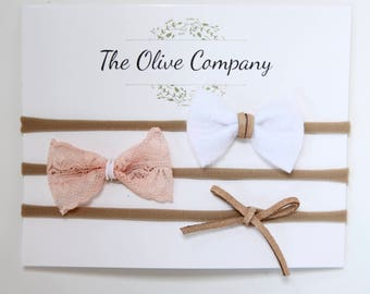 The Hannah- A collection of three handmade bows on nylon headbands or metal clips