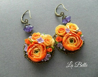 Earrings\polymer clay flowers\clay roses\ clayranunculyus\ clay lilac\flower bouquet\clay earrings\floral polymer clay jewelry\orange flower