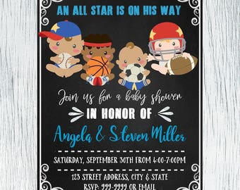 All Star Baby Shower Invitation - All Star Baby Invitation - Baby Shower Invitation - All Star Invite - Sports Baby Shower  INSTANT DOWNLOAD