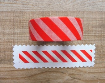 Tape 10 cm 1.5 m red with white stripes
