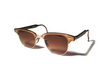 Vintage 1950s Retro Art-Craft Clubmaster Brown Bronze Aluminum Sunglasses Rayban