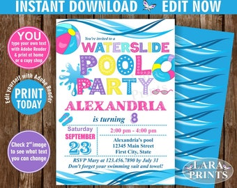 INSTANT DOWNLOAD / edit yourself now / Birthday Invitation / Pool Waterslide Swimming Summer Party Beach Invite Girl pink Purple Teal BDP14