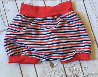 Bitty Bubble Shorts -- 4th of July -- Red, White, and Blue Stripes