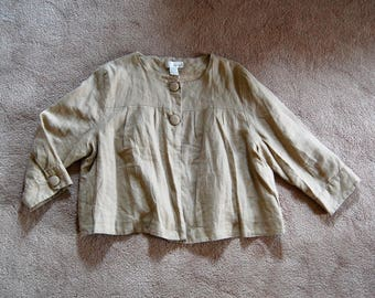 Vintage 100% Linen Flax Oversize Cropped Swing Jacket - Tan Ecru - Natural Fibers - Simple Minimalist - Spiegel - Washed Linen - Super Soft