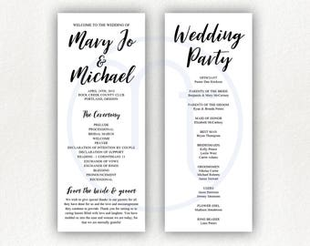 Printable, Customized Simple 2 Sided, Wedding Program, Ceremony Card, Wedding Party List, 4x10 Program, Letter Size