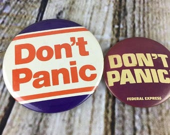 Vintage Federal Express Fed Ex Pins Don't Panic Aviation Transportation