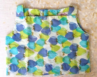 Vintage Liberty House Baby Toddler Girls' Top Blue Green Strawberries Summer