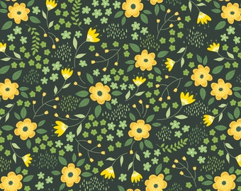 Yellow Floral Fabric - Camelot Bright Side Fabric - Yellow and Green Flower Fabric