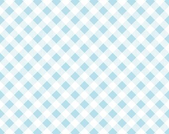 Aqua Gingham Fabric - Riley Blake Blue Gingham Fabric - Light Blue and White Check Fabric
