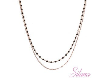 Black spinel necklace Rosary, 2 rows vermeil pink (925 sterling silver plated rose gold)