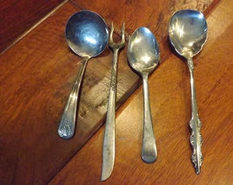 Vintage Silverware, 3 Spoons and a Pickle Fork