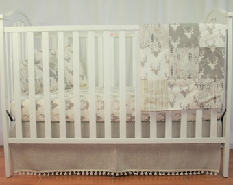 Crib Bedding Set- Natural Washed Oatmeal Linen Tan Baby Bedding 2 Pc Bumperless Natural Linen Crib Bedding tan Deer Head