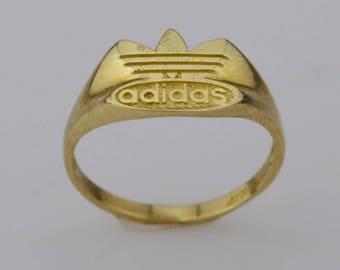 10k Yellow Gold Estate Adidas Ring Size 6.5(01513)
